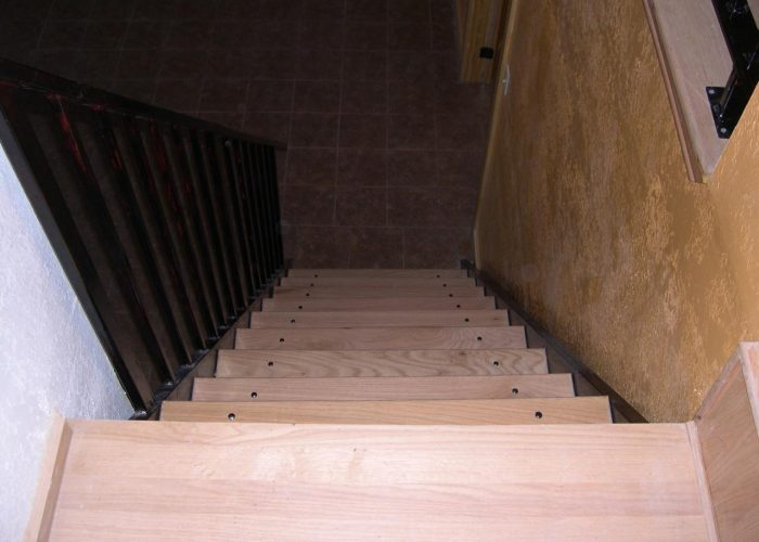 wood flooring installation on stairs