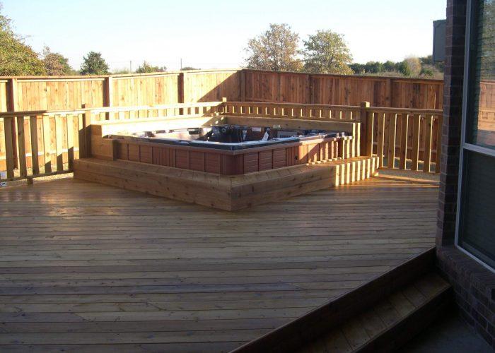 custom deck surround on hot tub