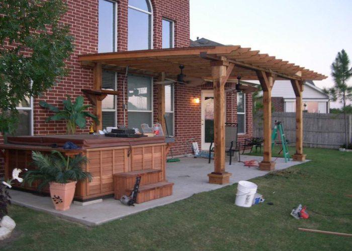 wood pergola porch covering