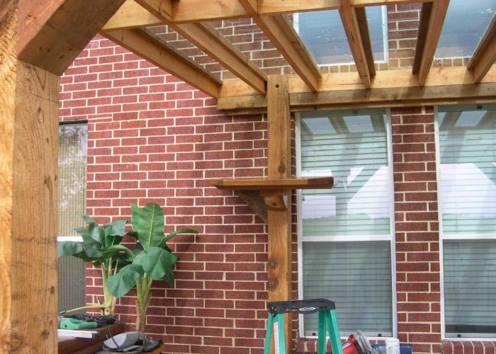 wooden porch cover build