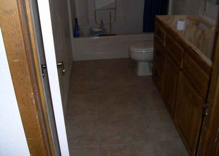 bathroom renovation -tile floor installation